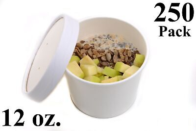 250 12 oz. Poly Coated White Paper Disposable Soup Containers with Vented Lids