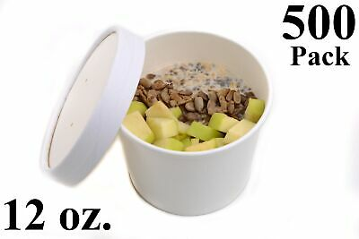 500 12 oz. Poly Coated White Paper Disposable Soup Containers with Vented Lids