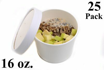 25 16 oz. Poly Coated White Paper Disposable Soup Containers with Vented Lids