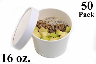 50 16 oz. Poly Coated White Paper Disposable Soup Containers with Vented Lids