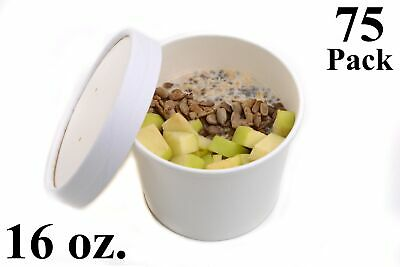 75 16 oz. Poly Coated White Paper Disposable Soup Containers with Vented Lids