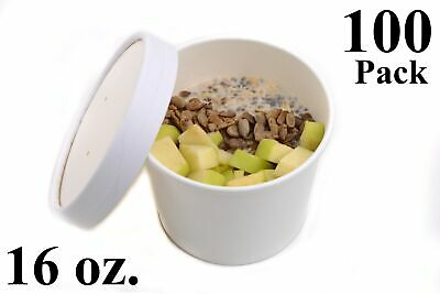 100 16 oz. Poly Coated White Paper Disposable Soup Containers with Vented Lids