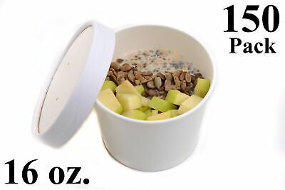 150 16 oz. Poly Coated White Paper Disposable Soup Containers with Vented Lids