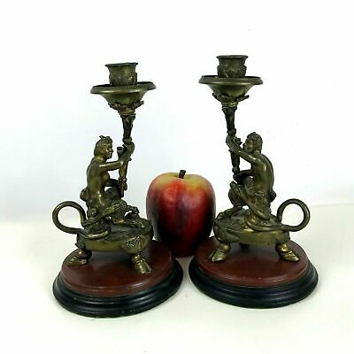 Rare pair of Antique Bronze Candlestick Figural Satyr, France 1870