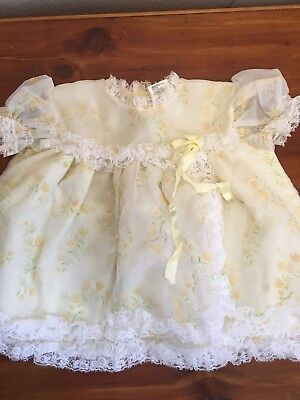 Vintage Yellow BRYAN dress Lace Bib Collar Short Sleeve Baby 3 - 6 month lined