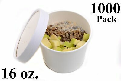 1000 16 oz. Poly Coated White Paper Disposable Soup Containers with Vented Lids