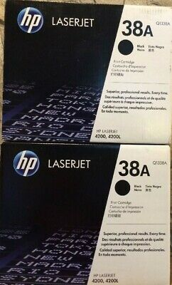 2 New Genuine Factory Sealed HP 38A Laser Cartridges New Black Packaging