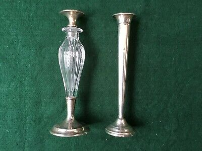Antique Sterling Silver Bud Vase and Tall Cut Glass Perfume
