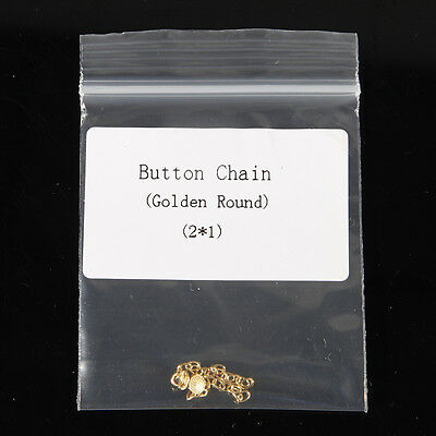 Dental Orthodontic Traction Chain Golden Round Mesh Base Lingual Buttons 2pc