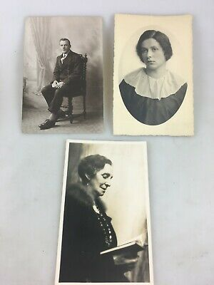 Vintage Photographs - B & W - 3 Photos/postcards Of People - Early 1900's