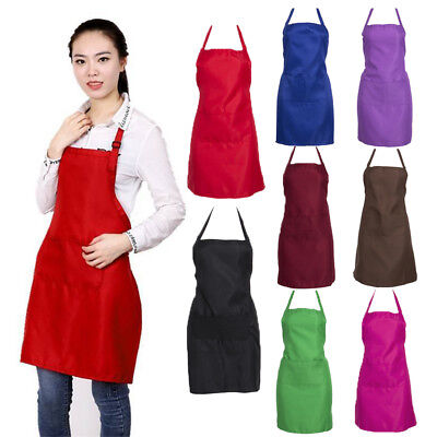 Thicken Cotton Polyester Blend  Cooking Kitchen Bib Apron With Pockets