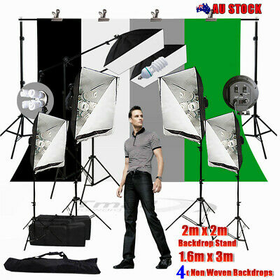 Photography Softbox Lighting Stand Boom Arm KIT+4XBackdrops & Support  Stand SET