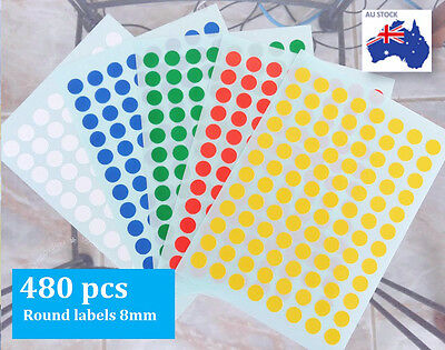480 Pcs Assorted Colour Code Round Sticker Circle Label Dots Spots coloured 8mm