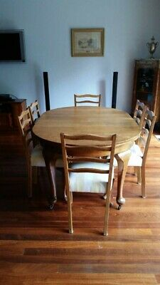 Stunning French Oak Table Plus Six Ladder Back Chairs 7Pce