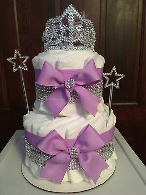 Princess Diaper Cake Purple Baby Girl Deluxe Baby Shower Centerpiece Gift