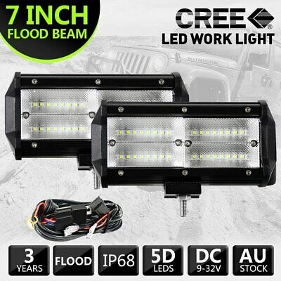 2x 7Inch 360W LED Light Bar Flood Fog Driving Offroad 12V + 2 Lead Wiring Kit 3M