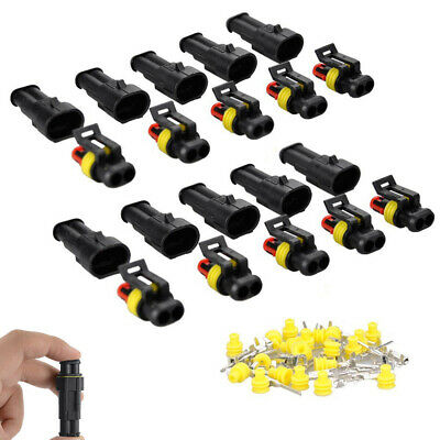 10x 2-Pin Car Way Sealed Waterproof Electrical Wire Connector Plug Kit Universal