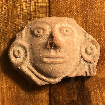 Pre-Columbian Pottery Antiquity Human Face Stone Central American Clay Artifact