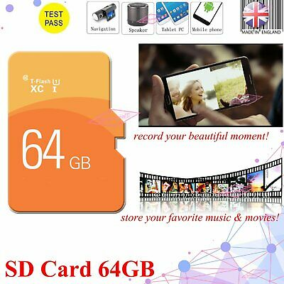 Memory TF Flash SD Card Storage Card 64GB For Mobile Phones & Free Adapter