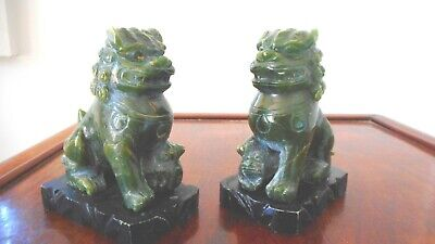 Antique Chinese Carved Jade Stone Guardian Lions (A Pair)
