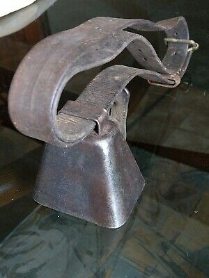 Vintage Metal  Cow / Calf / Goat / Sheep  Bell With Leather Strap