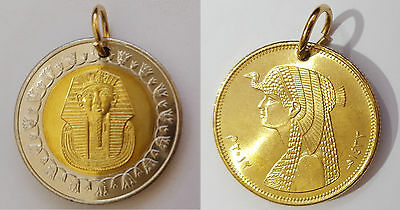 Pendant Egypt One Pound Coin King Tut+ Pendant 50 Piastre Coin Queen Cleopatra