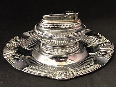 Vintage Silver Plated Set- Ash Tray With Lighter