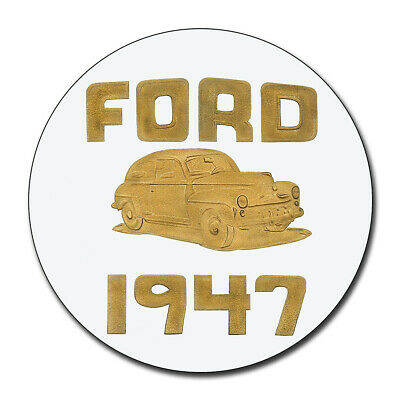1947 Ford Dealership White & Gold Reproduction Aluminum 11.75 Inch Circle Sign