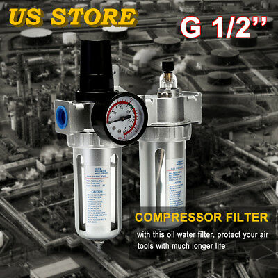 "G1/2"" Air Compressor Filter Water Oil Separator Trap Tools With/ Regulator~Gauge"