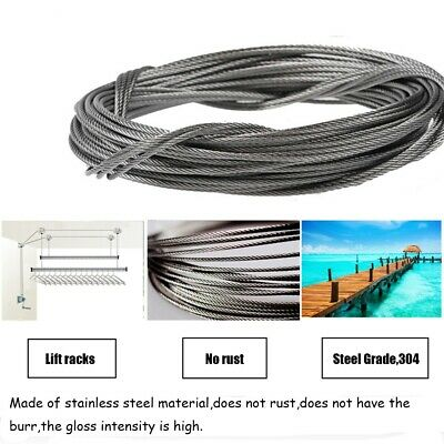 3/5/10m 304 Stainless Steel Cable Wire Rope Clothesline 1-2mm Fishing Cable Wire
