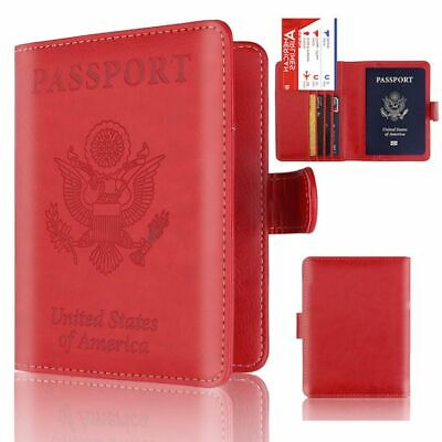 Hasp RFID Blocking Leather Passport Holder ID Case Credit Card Travel Wallet US