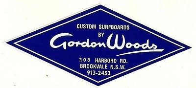"Sticker / Decal ""GORDON WOODS CUSTOM SURFBOARDS"" SURFING 1960's Retro Woody"
