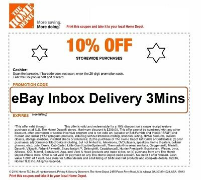 ONE 1X Home Depot 10% OFF Coupon - Instore ONLY Save up to $200-SENT_FAST-3mins