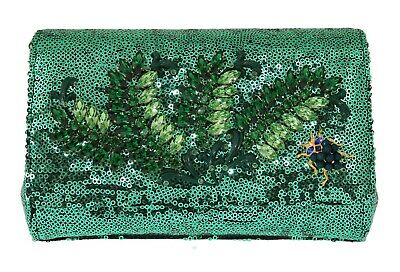 NEW  2600 DOLCE   GABBANA Bag Clutch ANNA Purse Green Sequined Crystal Party e0ca392ca6065