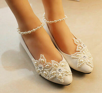 Lace Flat High-Heels Bridesmaid Prom White Pearls Bridal Shoes Wedding Shoes