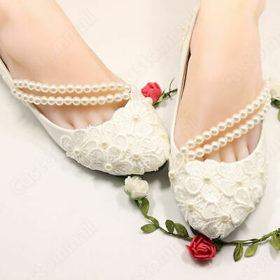 Prom Party Bridal Bridesmaid Heels Wedding Pearl Flat High Flower Lace Low Shoes