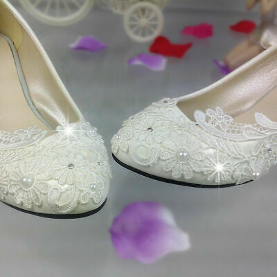 """Flat/1""""/2""""/3"""" Heels Pump Lace High Formal Low Wedding Shoes Bridal Shoes Prom"""