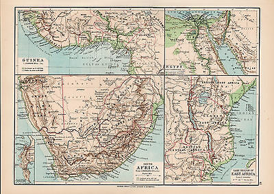Africa and Egypt 1894 Original Large Antique Color Map