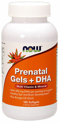 NOW Foods Pränatale Gels + DHA Multivitamin&Mineral 180 Softgels Schwangerschaft