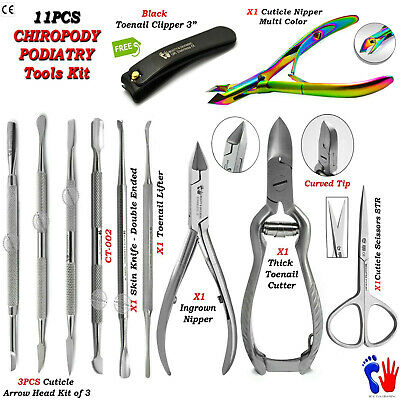 Manicure Pedicure Tools Kit Chiropody Toenail Clipper Nipper Cuticle Cutter 11Pc