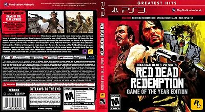 Sony Ps3 Replacement Game Case and Cover Video Game Case Red Dead Redemption