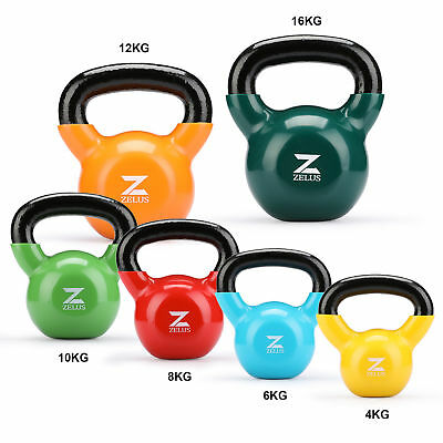 4 6 8 10 12 16KG CAST IRON KETTLEBELLS Vinyl EXERCISE STRENGTH GYM TRAINING