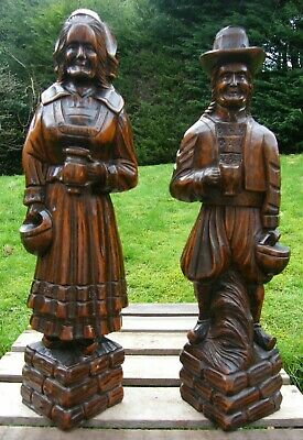 PAIR OF LARGE FRENCH CARVED WOODEN BRETON CARYATID BRACKET CORBEL FIGURES 19c