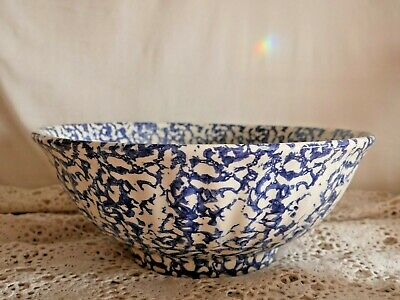 Large Ceramic Vintage Blue & White Mixing Bowl Made in Italy