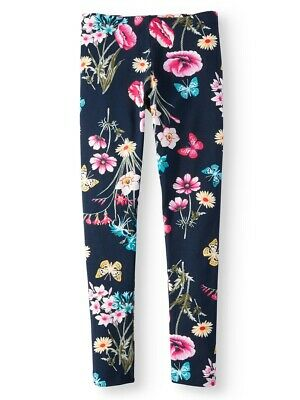 Girls Navy Blue Floral Butterfly Leggings-NEW-Flowers-Sizes 10/12 or 14/16