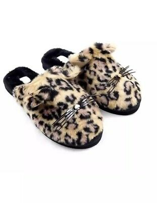dfe826a88b8d Kate Spade S030048 Belindy Leopard Printed Plush Fur Cat Slipper NEW Size 9