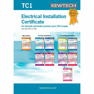 Kewtech TC1 Electrical Installation Certificate for Supplies up to 100A