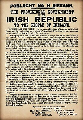 1916 Proclamation Poster A4 - Irish Republic Republican Easter Rising Old Rustic