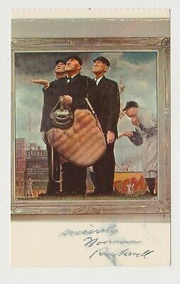 """Norman Rockwell Autographed """"The Three Umpires"""" Postcard"""