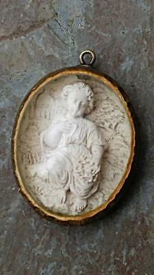 Fascinating Italian 17th C Carved Plaster Child Figure Encased in Glass Amulet